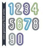 Ζωηρόχρωμοι λεπτοί αναδρομικοί αριθμοί καθορισμένοι, διανυσματικά ελαφριά κλασικά ψηφία Στοκ Εικόνες