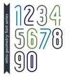Ζωηρόχρωμοι λεπτοί αναδρομικοί αριθμοί καθορισμένοι, διανυσματικά ψηφία Στοκ Φωτογραφίες