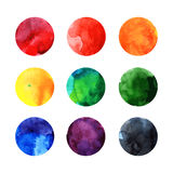 Ζωηρόχρωμοι διανυσματικοί κύκλοι watercolor Στοκ Εικόνα
