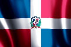 Ζωηρόχρωμοι κυματισμός Δομινικανής Δημοκρατίας και απεικόνιση σημαιών κινηματογραφήσεων σε πρώτο πλάνο ελεύθερη απεικόνιση δικαιώματος