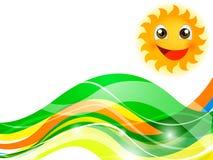Ζωηρόχρωμοι κύματα και ήλιος απεικόνιση αποθεμάτων