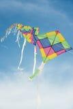 Ζωηρόχρωμοι πολύχρωμοι ικτίνοι που πετούν στο μπλε ουρανό Στοκ Φωτογραφίες