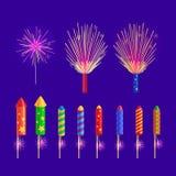 Ζωηρόχρωμοι πύραυλοι πυροτεχνημάτων στο μπλε υπόβαθρο Στοκ Εικόνες