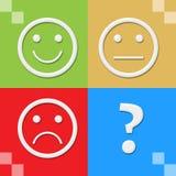 Ζωηρόχρωμοι τέσσερις φραγμοί προσώπων χαμόγελου ουδέτεροι λυπημένοι Στοκ εικόνες με δικαίωμα ελεύθερης χρήσης