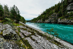 Ζωηρόχρωμοι τυρκουάζ ποταμός και ακτή με τους βράχους και τα δέντρα στη Νορβηγία Στοκ φωτογραφία με δικαίωμα ελεύθερης χρήσης