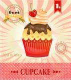 Ζωηρόχρωμος, απομονωμένος cupcake με κόκκινο chrry και Στοκ Εικόνες