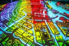 Ζωηρόχρωμος αφηρημένος χάρτης πόλεων του Άμστερνταμ στην προοπτική Στοκ Εικόνες