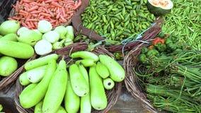 Ζωηρόχρωμος διάφορος των υγιών φρέσκων οργανικών λαχανικών στην παραδοσιακή ασιατική αγορά τροφίμων, Varanasi, Ινδία, βίντεο μήκο απόθεμα βίντεο