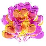Ζωηρόχρωμος διαμορφωμένος καρδιά πορφυρός κίτρινος διαφανής μπαλονιών κομμάτων απεικόνιση αποθεμάτων