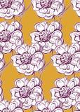 Ζωηρόχρωμος διανυσματικός σχεδίου λουλουδιών τέχνης ζωγραφικής διακοσμήσεων κήπος σχεδίων ταπετσαριών άνευ ραφής απεικόνιση αποθεμάτων