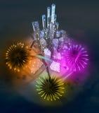 Ζωηρόχρωμος εορτασμός πυροτεχνημάτων επάνω από τη σύγχρονη εικονική παράσταση πόλης διανυσματική απεικόνιση