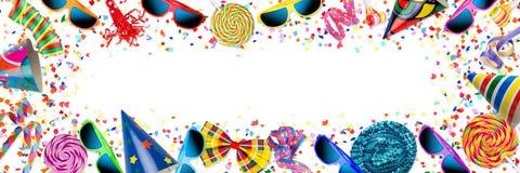Ζωηρόχρωμος ευρύς εορτασμός γενεθλίων καρναβαλιού κομμάτων πανοράματος backg ελεύθερη απεικόνιση δικαιώματος