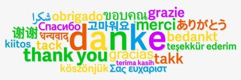 Ζωηρόχρωμος ευχαριστήστε εσείς διατυπώνει το σύννεφο στις διαφορετικές γλώσσες Στοκ Φωτογραφία