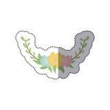 ζωηρόχρωμος διακοσμητικός μισός κλάδος κορωνών αυτοκόλλητων ετικεττών floral διανυσματική απεικόνιση