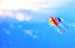 Ζωηρόχρωμος ικτίνος που πετά στο μπλε ουρανό μέσω των σύννεφων Στοκ Εικόνες