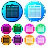 Ζωηρόχρωμος, κυκλικός, amp κιθάρων κλίσης σύνολο εικονιδίων ενισχυτών Γραπτές παραλλαγές περιλήψεων Πέντε παραλλαγές χρώματος ελεύθερη απεικόνιση δικαιώματος