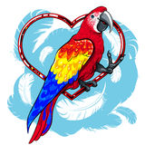 Ζωηρόχρωμος κόκκινος παπαγάλος με τα μπλε φτερά διανυσματική απεικόνιση