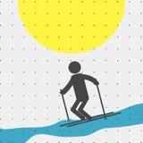 Ζωηρόχρωμος μινιμαλισμός αθλητικού αφίσα-ύφους επίπεδος για τους εμπορικούς ιστοχώρους Ο αθλητής κάνει σκι διάνυσμα Στοκ εικόνα με δικαίωμα ελεύθερης χρήσης