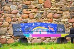 Ζωηρόχρωμος ξύλινος πάγκος Στοκ φωτογραφία με δικαίωμα ελεύθερης χρήσης