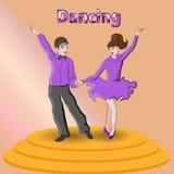 Ζωηρόχρωμος παρουσιάστε με τα χορεύοντας παιδιά επίσης corel σύρετε το διάνυσμα απεικόνισης απεικόνιση αποθεμάτων