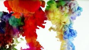 Ζωηρόχρωμος παφλασμός πτώσεων μελανιού χρωμάτων σε υποβρύχιο στη λίμνη νερού απόθεμα βίντεο
