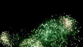 Ζωηρόχρωμος πολύχρωμος επίδειξης πυροτεχνημάτων τη νύχτα στο μαύρο υπόβαθρο απόθεμα βίντεο