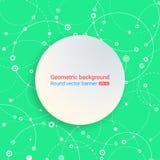 ζωηρόχρωμος πράσινος ανα&sig κύκλος εμβλημάτων Κενό διάστημα για το κείμενο Η χαοτική κίνηση της μοριακής δομής Θέμα της ιατρικής διανυσματική απεικόνιση