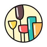 Ζωηρόχρωμος συρμένος χέρι logotype στρογγυλός μινιμαλισμός γυαλιών απεικόνιση αποθεμάτων