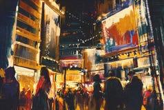 Ζωηρόχρωμος της πόλης νύχτας απεικόνιση αποθεμάτων