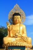 Ζωηρόχρωμος του χρυσού γιγαντιαίου αγάλματος του Βούδα στο ναό Sanbanggulsa, νησί Jeju Στοκ φωτογραφία με δικαίωμα ελεύθερης χρήσης