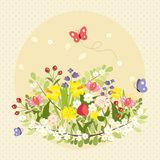 Ζωηρόχρωμος τρύγος τέχνης λουλουδιών πεταλούδων άνοιξη Στοκ εικόνες με δικαίωμα ελεύθερης χρήσης