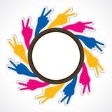 Ζωηρόχρωμος τρύγος χεριών νίκης Στοκ Εικόνα