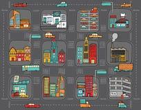Ζωηρόχρωμος χάρτης πόλεων κινούμενων σχεδίων ελεύθερη απεικόνιση δικαιώματος