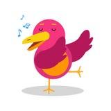 Ζωηρόχρωμος χαρακτήρας πουλιών κινούμενων σχεδίων στη γεωμετρική μορφή που τραγουδά τη διανυσματική απεικόνιση Στοκ Εικόνες