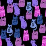 Ζωηρόχρωμο άνευ ραφής σχέδιο γατών ύφους doodle διάνυσμα διανυσματική απεικόνιση