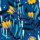 Ζωηρόχρωμο άνευ ραφής σχέδιο με τα λουλούδια, φύλλα διανυσματική απεικόνιση