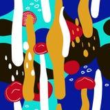 Ζωηρόχρωμο άνευ ραφής σχέδιο με τα μανιτάρια και ζωηρόχρωμη θαμπάδα Στοκ Εικόνα