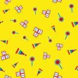 Ζωηρόχρωμο άνευ ραφής σχέδιο με τα παιχνίδια των παιδιών Επαναλαμβανόμενες πυραμίδες, κουδουνίσματα, κύβοι με τους αριθμούς διανυσματική απεικόνιση