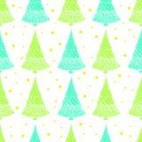 Ζωηρόχρωμο άνευ ραφής σχέδιο με τα χριστουγεννιάτικα δέντρα και τα αστέρια Στοκ Φωτογραφίες