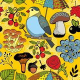 Ζωηρόχρωμο άνευ ραφής σχέδιο με το δασικό άγριο πουλί στο δέντρο Στοκ Εικόνες