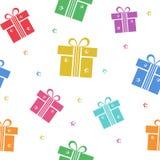 Ζωηρόχρωμο άνευ ραφής σχέδιο με το κιβώτιο και τα αστέρια δώρων r διανυσματική απεικόνιση