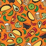 Ζωηρόχρωμο άνευ ραφής σχέδιο χρονικής γιορτής Taco διανυσματική απεικόνιση
