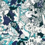 Ζωηρόχρωμο άνευ ραφής σχέδιο γκράφιτι Στοκ Εικόνα