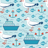 Ζωηρόχρωμο άνευ ραφής σχέδιο θάλασσας με seagulls απεικόνιση αποθεμάτων