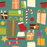 Ζωηρόχρωμο άνευ ραφής σχέδιο διακοσμήσεων Χριστουγέννων απεικόνιση αποθεμάτων