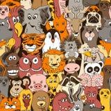 Ζωηρόχρωμο άνευ ραφής σχέδιο με τα ζώα ελεύθερη απεικόνιση δικαιώματος