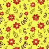Ζωηρόχρωμο άνευ ραφής σχέδιο με τα λουλούδια στο κίτρινο υπόβαθρο Στοκ εικόνες με δικαίωμα ελεύθερης χρήσης