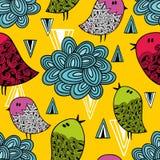 Ζωηρόχρωμο άνευ ραφής σχέδιο με τα χαριτωμένα πουλιά και τα σύννεφα Στοκ Εικόνες