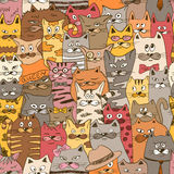 Ζωηρόχρωμο άνευ ραφής σχέδιο με τις αστείες γάτες διανυσματική απεικόνιση