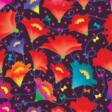 Ζωηρόχρωμο άνευ ραφής σχέδιο πεταλούδων αγάπης λουλουδιών Στοκ Εικόνες